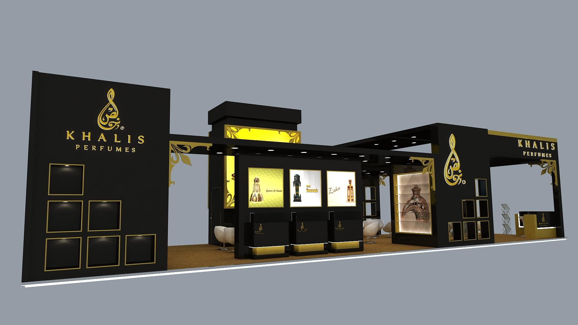 khalis perfume exhibition stand design in uae