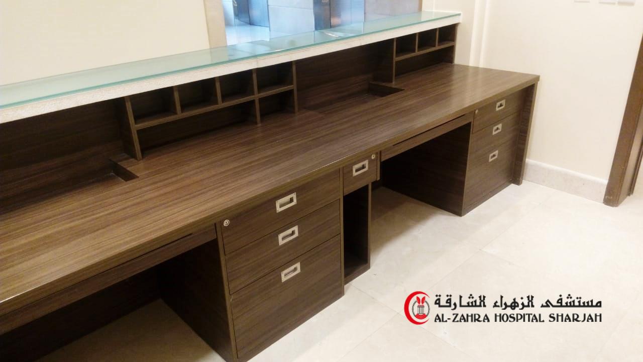 al zahra hospital sharjah  refurbishment of reception counter by varisstadesigns