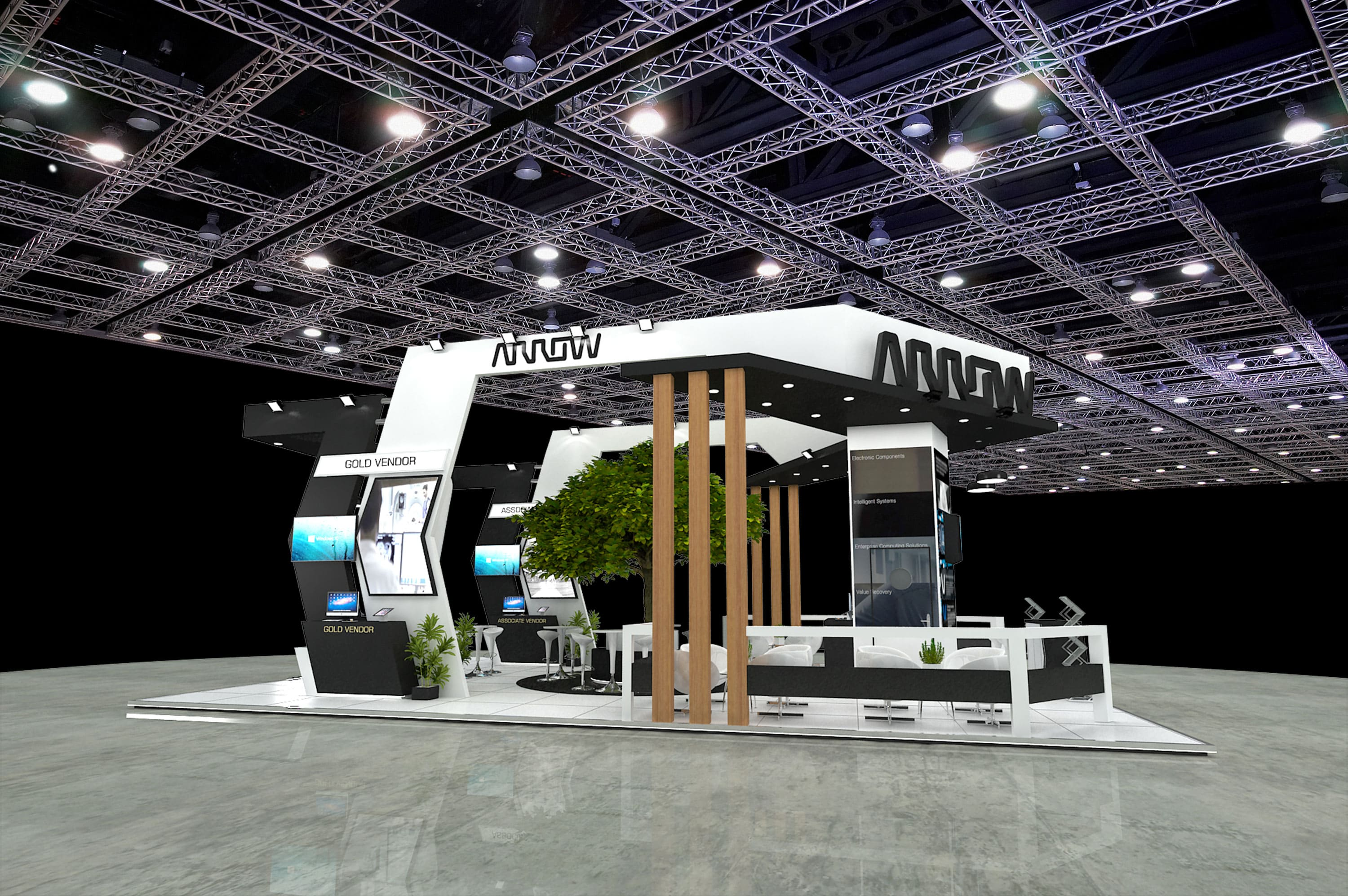 arrow exhibition stand designed by varistadesigns