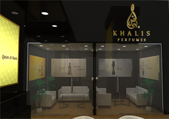 khalis perfume exhibition stand design in uae